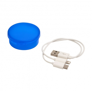 3-in-1 USB charging cable (micro-USB, iOS and Type C). In round PP case.