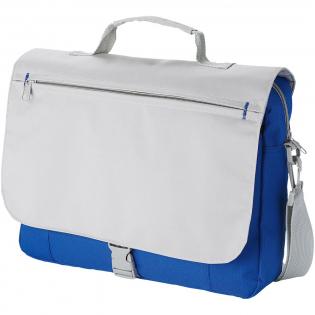 Shoulder bag with adjustable shoulder strap, padded handle, front zipper pocket, main zippered compartment and organisation section under flap.