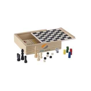5 klassieke spellen in houten spellenkist, incl. spelregels. Per stuk in kartonnen beschermhuls.