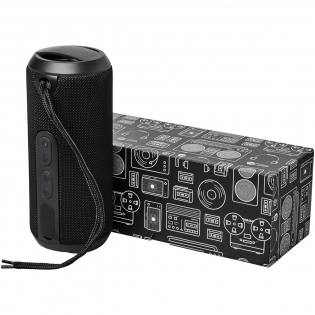 Enjoy your favorite music regardless of your location! Take the Rugged Fabric Waterproof Bluetooth speaker with you to the pool, on your hike, or to your next outdoor party. The 10 watt output (2 x 5W) and digital sound processor is capable of filling any location with quality sound. The Rugged Fabric Waterproof Outdoor Bluetooth® Speaker has a waterproof rating of IPX6. This means it can be left in a rain storm or fall into a body of water without any damage being done. Also Included is a micro USB charging cable and carrying string. Bluetooth working range is 10 meters. Enjoy up to 4 hours of music at max volume on a single charge. Charging time is 2.5 hours. It has a built in microphone and music controls for hands free operation.