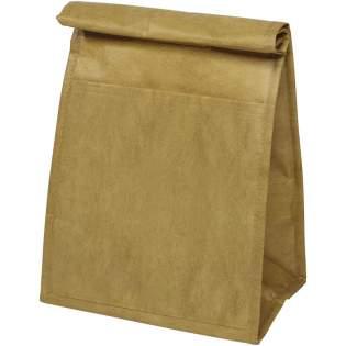 Kühltasche mit Papier-Look, um den Eindruck der braunen Papiertüte zu erwecken. Isoliertes Hauptfach mit Klettverschluss.