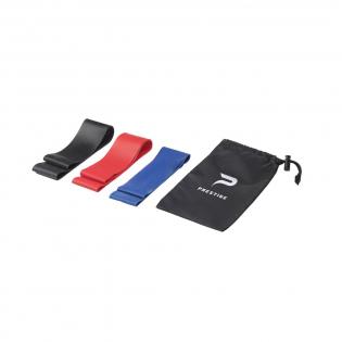Ein Set von 3 verschiedenen Widerstandsbändern aus Gummi in verschiedenen Stärken für ein optimales Training. Ein praktisches Hilfsmittel zum Dehnen und Kräftigen der Muskeln. Die Fitnessbänder werden pro Set in einem Polyesterbeutel geliefert.