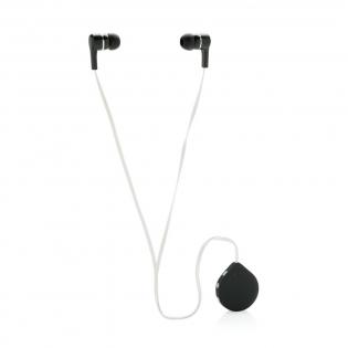 Kabellose Kopfhörer mit 60cm TPE-Kabel und Clip für einen optimalen Halt an Ihrer Kleidung. Mit Play/Pause Knopf und Lautstärkeregulierung.  BT 4.0 für eine perfekte Verbidung zu Ihrem Gerät auf bis zu 10m. Die 60 mAh Batterie spielt Ihre Musik bis zu 3,5h. In transparenter Box mit EVA-Einleger verpackt.