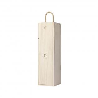 Wijnkist van paulowniahout. Met schuifdeksel en koord.  Geschikt voor 1 fles wijn (0,75L). Het wijnkistje wordt geleverd exclusief wijn. Per stuk in kraft doos.