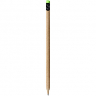 Bleistift mit einem Schaft aus Recyclingpapier und einem grünen Radiergummi. Die Farbe des Recyclingpapiers kann variieren. Ungeschärft.