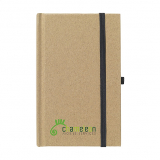 Environmentally friendly, A6 size notebook made of recycled material. With approx. 80 sheets of cream-coloured, lined paper, handy pen loop and elastic closure.