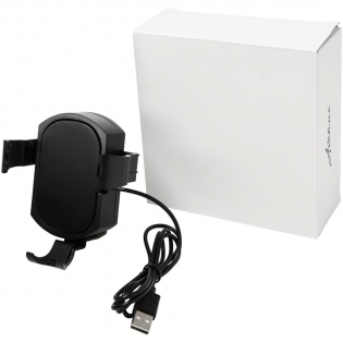 The Prim detachable wireless phone mount includes a detachable wireless charging pad, that can be attached to a car vent. The micro charging cable connects via USB port to provide power, and once the phone is clipped in place, charging starts automatically.