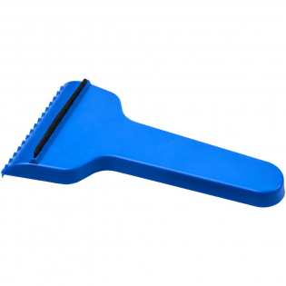 Comfortably shaped ice scraper with two scraping options.