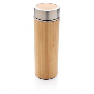 Unieke vacuüm-lekvrije fles wordt geleverd met 304 RVS binnenwanden en organisch bamboe buitenkant. Houd je drankjes maximaal 5 uur warm en koel tot 15 uur. Inhoud: 320 ml.