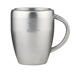 Double-walled, stainless steel drinking cup. Capacity 220 ml. Each piece in a box.