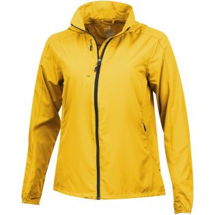 600 mm Water resistant. Roll-away hood. Thumb holes. Chest pocket with zipper closure. Ventilation at back. Shaped seams and tapered waist for flattering fit. Inner stormflap with chinguard. Reflective details. Elasticated cuffs. Elastic drawstring with adjustable cord lock.