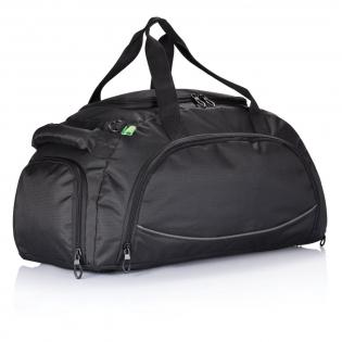 600D Ripstop, Fronttasche mit Organizer und Reißverschluss, Seiten- und Schuhfach, gummierte Tragegriffe sowie ein Schultergurt, und mit 4 Füßen an der Bodenseite. PVC-frei.