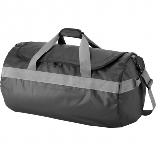 Exclusive design water resistant large travelbag with zippered main compartment. Zippered front pocket. Top carry handle with padded hook & loop closure. Carry handles on both sides. Removable and adjustable shoulder strap. .