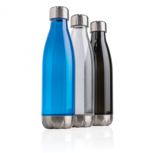 Elevate your daily water intake using this leakproof water bottle with stainless steel lid and bottom and transparent body. With a base that fits in most cup holders, this sleek looking water bottle will keep you hydrated on the go wherever you are. Capacity 500ml. BPA free.