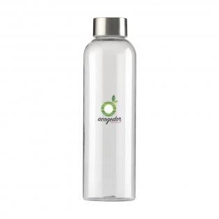 Transparente, BPA-freie Wasserflasche aus nachhaltigem Eastman Tritan™. Mit Schraubverschluss aus Edelstahl. Das schlanke Design fällt sofort ins Auge und liegt besonders bequem in der Hand. Auslaufsicher. Fassungsvermögen: 650 ml.
