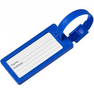 Een stevig bagagelabel compleet met papieren inlay, een doorzichtige beschermhoes en een bijpassend kunststof bandje.