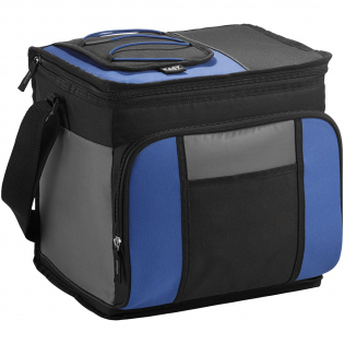 Easy-access 24-can cooler bag. Zippered main compartment holds up to 24 cans. Zippered front compartment. Easy-access pocket allow for quick retrieval of chilled items. Backsaver™ technology combats the strain of carrying a loaded cooler. Ultra Safe™ leak-proof PEVA lining. Collapses for easy storage. 600D Polyester.