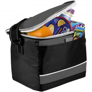 Levy sports cooler bag. Cooler with zippered main compartment. Open front pocket. Side mesh pocket. Adjustable shoulder strap. PEVA insulation. 70D Nylon.