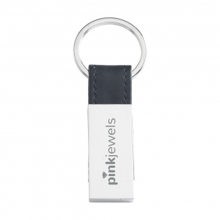 Metal keychain combined with black PU leather look material. On sturdy keyring. Each piece in a box.