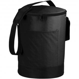 Bucco barrel cooler bag. Barrel-shaped zippered main compartment. Open front pocket. Mesh pocket. Adjustable, padded shoulder strap. PEVA insulation. 70D Nylon.