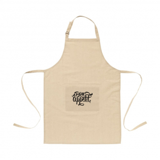 ECO apron made from 100% organic cotton (180 g/m²). With a patch pocket. The neckband can be adjusted with a metal clasp. One size fits all. Durable and eco-friendly.