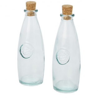 2-piece recycled glass set featuring two 300 ml oil and vinegar containers with cork lid. Made from 1 glass bottle. Recycled glass is manufactured using less energy, raw material, and additives, than what is required for making traditional glass. Container size: height 18 cm, diameter 6.5 cm.
