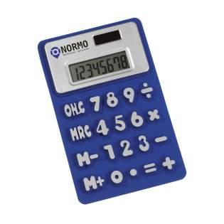 Rutschfester Taschenrechner aus flexiblem und weichem Kunststoffmatierial mit integriertem 8-Ziffern Display und Dualpower. Einschl. Zellbatterie und Gebrausanweisung. Im Karton.