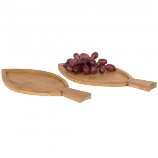 Deze twee visvormige amuse borden van bamboe zijn perfect voor het serveren van hapjes. Gepresenteerd in een Avenue geschenkverpakking.