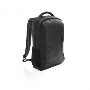 """Carry all of your gear for school or travel inside this 900D laptop backpack. It's made from durable fabric and features a sporty, urban inspired design with custom fit straps for added comfort. This backpack includes a fully padded laptop compartment, a large main compartment to hold books or extra layers of clothing and a front zipper pocket for accessories. There is also a trolley strap on the back. Fits laptops up to 15.6"""". PVC free."""