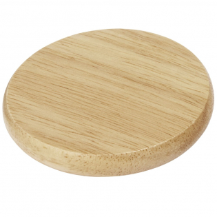 Wooden coaster with stainless steel bottle opener.