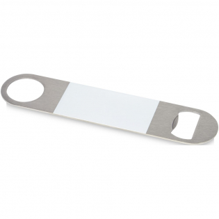 Bottle opener made of stainless steel with a large coloured area in the middle.