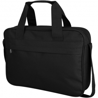 Conference bag with a zippered large main compartment and front large pocket with hidden zipper. Reinforced double carry handle with pad. Adjustable shoulder strap.