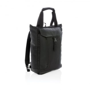 """This versatile bag can be carried on the shoulder, by hand or as a backpack. Including padded 15"""" laptop compartment and RFID protected sleeves. PVC free."""