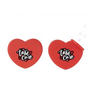 Boîte distributrice en forme de cœur, remplie avec environ 8 g (50 pièces) de bonbons à la menthe sans sucre.