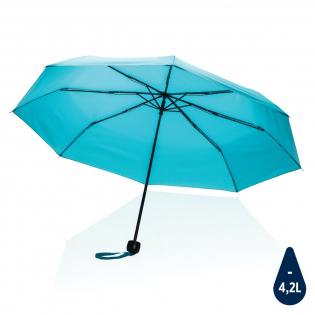 No greenwashing, but telling a true story about sustainability! This Impact umbrella is made with 190T RPET pongee with AWARE™ tracer. With AWARE™, the use of genuine recycled fabric materials and water reduction impact claims are guaranteed, by using the AWARE disruptive physical tracer and blockchain technology. Save water and use genuine recycled fabrics. With the focus on water 2% of proceeds of each Impact product sold will be donated to Water.org. This portable 3 section manual open mini umbrella  is the perfect size to keep in your purse or car for a weather emergency. Metal frame, metal ribs with PP handle. This umbrella canopy has saved 4,2 litres of water and is made with 7,1 PET bottles (500ml). Water savings are based on figures when compared to conventional fibre. This calculated indication is based on reliable LCA data as published by Textile Exchange in their Material Snapshots 2016.