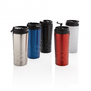 Fashionable stainless steel tumbler with geometric details. Inner body is made out of plastic. Handwash only. Content 300ml.