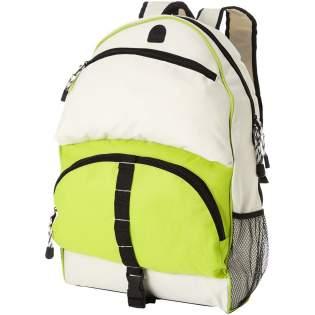 Rucksack mit gepolsterten Schulterriemen, Netztaschen auf beiden Seiten, abnehmbarer Handyhülle, Fronttasche mit Reißverschluss für MP3/MP4-Player und mehreren kleinen Haken für Schlüssel und Ohrhöreröffnung.