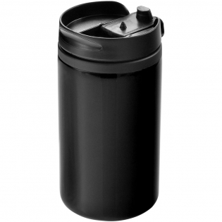 Double wall tumbler with twist-on lid and locking flip-top drink opening. Volume capacity is 300 ml.