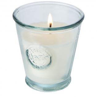 Natural, no scented candle made from soybeans, a sustainable and renewable source. The candle holder is made of 100% recycled glass produced from 1 glass bottle. Recycled glass is manufactured using less energy, raw material, and additives, than what is required for making traditional glass.