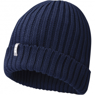 Sustainable promotional headwear. Single layer beanie with double folded edge. Branded loop label.