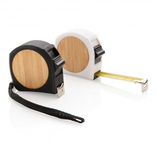 Bamboo and ABS with rubber finish measuring tape with clip and wrist strap. 5 metre/19 mm tape with hook. Manual stop button