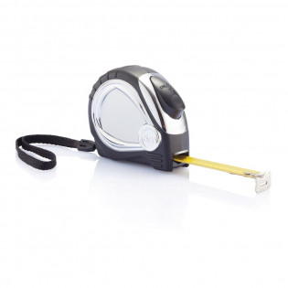 5m/19mm ABS chrome plated case with soft rubber grip and yellow matt tape. Including belt clip and wrist strap.