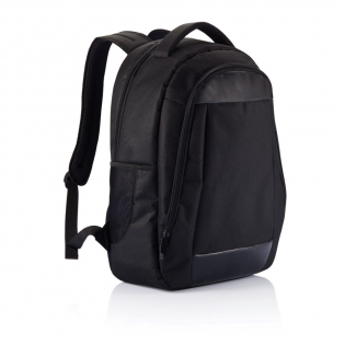 """600D, zippered  with organiser and zippered main compartment with 15,6"""" padded laptop pocket. PVC free."""
