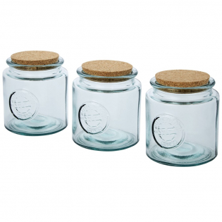 3-piece recycled glass set featuring three 800 ml jars with cork lid. Made from 3 glass bottles. Recycled glass is manufactured using less energy, raw material, and additives, than what is required for making traditional glass. Jar size: height 13 cm, diameter 12 cm.