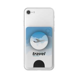 Eine Kombination aus PopWallet und PopGrip mit PopTop. Inklusive Allover-Druck auf dem PopWallet und auf dem PopTop  in jedem beliebigen Design in Volfarbe. Die PopWallet ist ein schlanker, repositionierbar Kunststof Kartenhalter für Smartphones, der zur Aufbewarung von 3 Zahlungskarten oder ca. 6 Visitenkarten geeignet ist. Bringen Sie dieses Telefonzubehör mit Bankkarte auf der Rückseite Ihres Telefons an, und Sie haben immer ein Zahlungsmittel zur Hand. Leicht zu befestigen und zu verschieben. Haftet an den meisten Geräten und Hüllen (nicht an Silikon- pder wasserfesten Hüllen und stark strukturierten und weichen Oberflächen). Mit einem einzigen Handgriff abnehmbar um kabelloses Aufladen zu ermöglichen. Der PopGrip bietet einen sicheren Halt, wenn Sie Ihr Telefon mit einer Hand bedienen. Lesen Sie zur optimalen Verwendung die mitgelieferde Anleitung. Zusätzliche Informationen zur Lieferzeit: bis zu 500 Stück: 2 Wochen | 500 - 2.500 Stück: 3 Wochen. Für größere Mengen Preis und Lieferzeit auf Anfrage. Das PopWallet + wird nur mit Aufdruck geliefert.