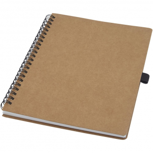 A5-size wire-o recycled cardboard cover notebook with pen loop. Features 70 sheets 60 g/m² lined inner pages made from stone. Stone paper is 100% tree free and the production process uses less energy compared to recycled or new pulp paper. The paper is water and tear resistant and has a natural white colour (no bleaching involved).