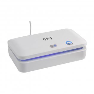 Multifunctional UV-C steriliser box with wireless 5W charger. By using UV-C LED-technology, the steriliser eliminates 99.9% of the bacteria from objects placed in to the ABS box in just 5 minutes (auto cycle). This product can be used with mobile phones, jewellery, keys and face masks. With UV-C LED lights installed in the top and bottom, items are cleaned all over without the need to turn the contents of the box. The built-in safety function ensures that the lights go out automatically when the box is opened, preventing any exposure to UV light. On top of the box is a handy 5W wireless charger for charging mobile devices. Helpful indicator lights show the charging status of the mobile phone. Input: DC 5V / 2A. Output: DC 5V / 1A (5W). Includes Type-C USB cable (50 cm) and manual. Each item is individually boxed.