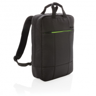 """Minimize your carbon footprint with this earth-conscious laptop backpack that saves energy and reduces pollution during production. This laptop backpack holds your 15.6"""" laptop in style. The zipper front pocket gives quick access to your belongings. Made of sustainable RPET and PVC free. Registered design® Exterior: 100% 600D recycled polyester/ Lining: 100% 210D recycled polyester"""
