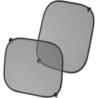 Set of 2 car window shades with 4 suction cup holders to regulate the temperature inside your vehicle.