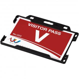 Porte-cartes format paysage idéal pour les expositions, lieux de travail et événements de réseautage. Adapté aux pass de la taille de cartes de visite standards et de cartes de crédit.